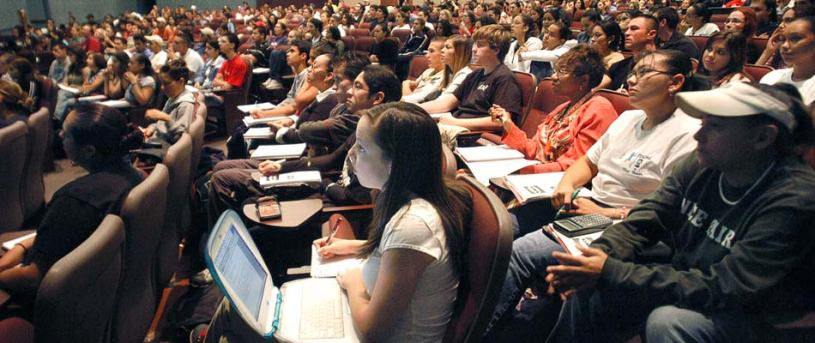 hundreds of students sit in a lecture hall at the University of Texas