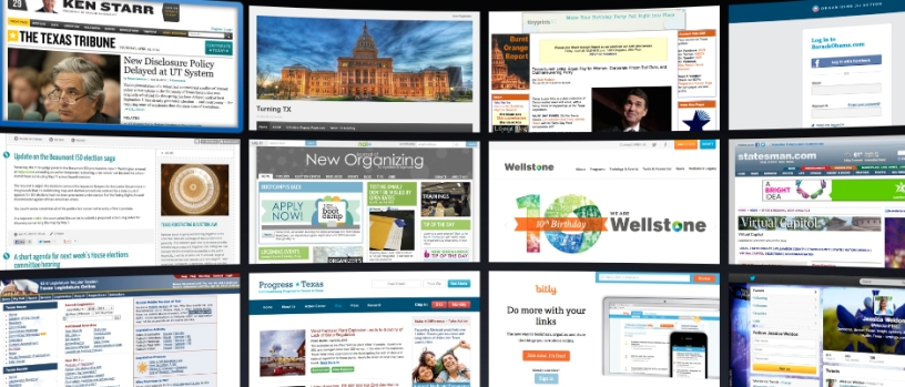A Screenshot of Jess's top sites: the Texas Tribune, the Burnt Orange report, and others